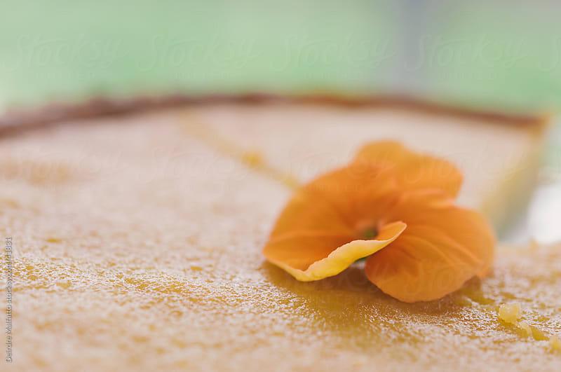 lemon tart with flower garnish by Deirdre Malfatto for Stocksy United