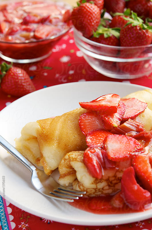 Strawberry and Rhubarb Blini by Harald Walker for Stocksy United