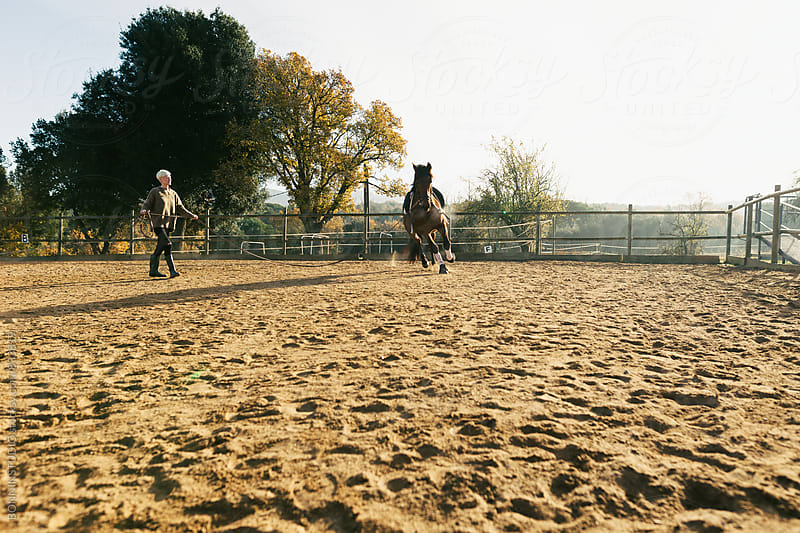 Woman training her horse on a paddock. by BONNINSTUDIO for Stocksy United