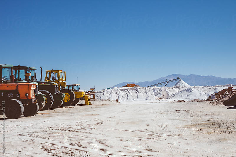 Tractors in saline in Northern Argentina by michela ravasio for Stocksy United