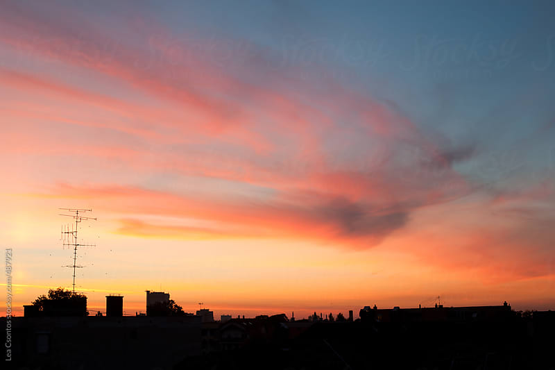 Beutiful and colorful sunset with a city skyline by Lea Csontos for Stocksy United