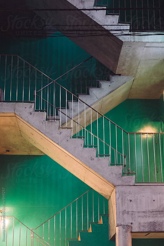 Old external apartment staircase by Rowena Naylor for Stocksy United