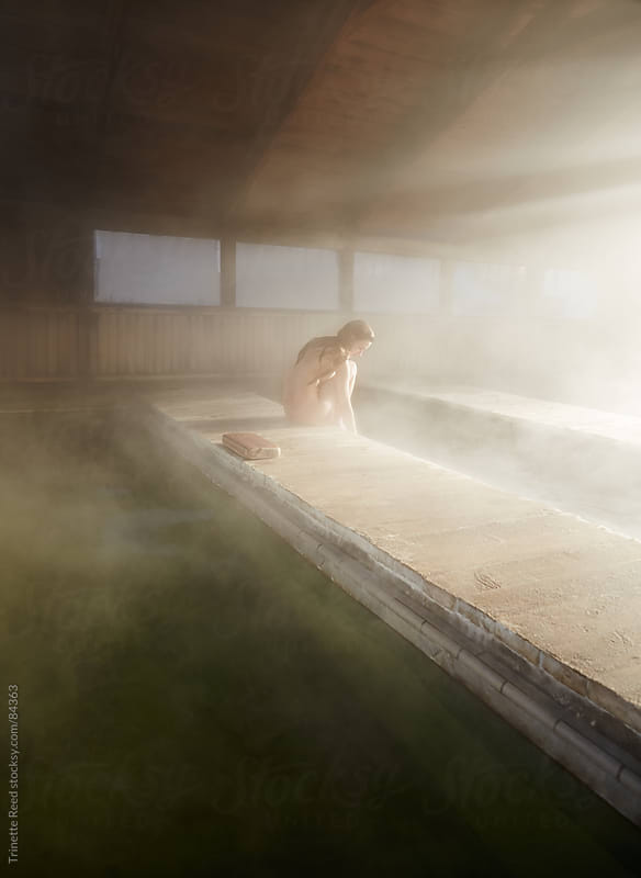 Woman relaxing at Japanese Hot Springs by Trinette Reed for Stocksy United