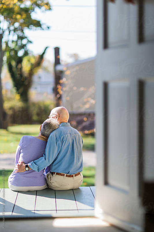 Senior Couple Love and Embrace Together by Raymond Forbes LLC for Stocksy United