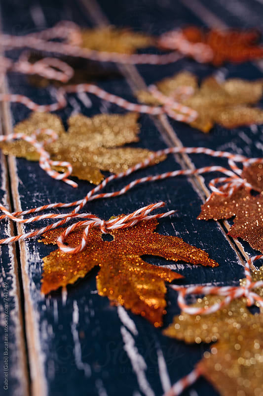 Various color glitter covered autumn leaves by Gabriel (Gabi) Bucataru for Stocksy United