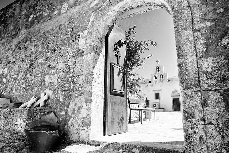 Entrance of an old orthodox monastery in Crete, Greece by Ivan Bastien for Stocksy United