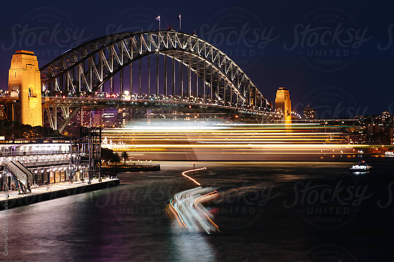 Sydney Harbour Bridge at Night by Cameron Zegers for Stocksy United