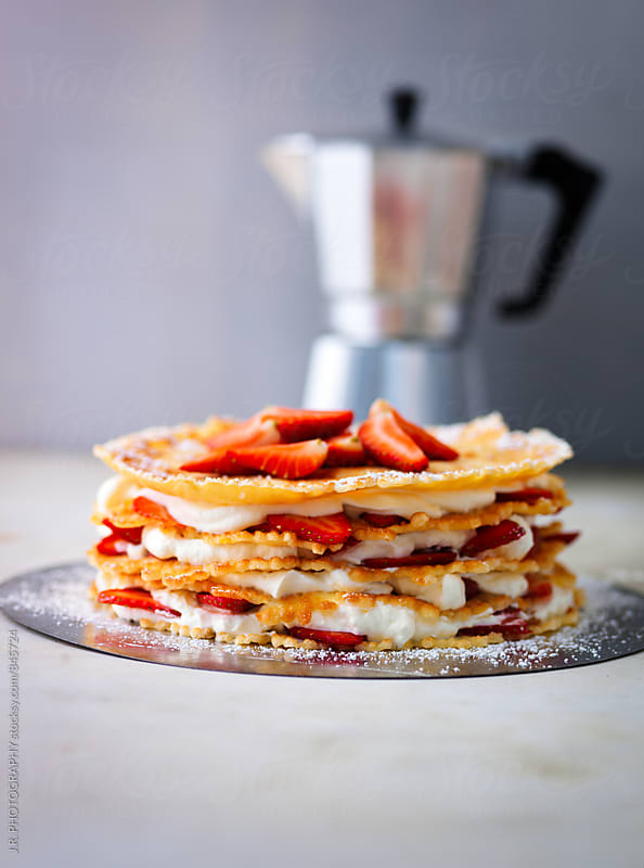 Pancake cake with strawberry and cream filling by J.R. PHOTOGRAPHY for Stocksy United