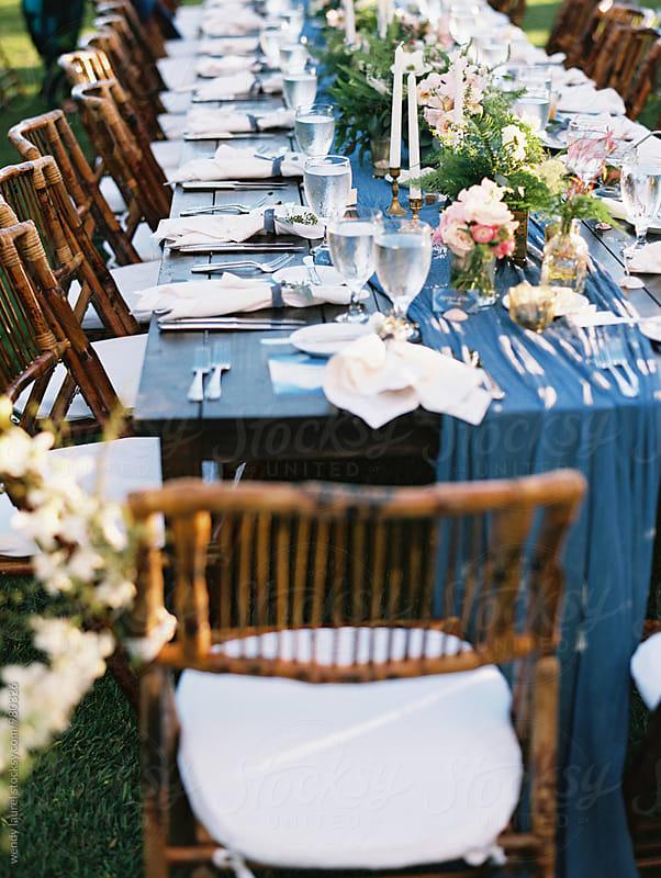 blue table elegant setting by wendy laurel for Stocksy United