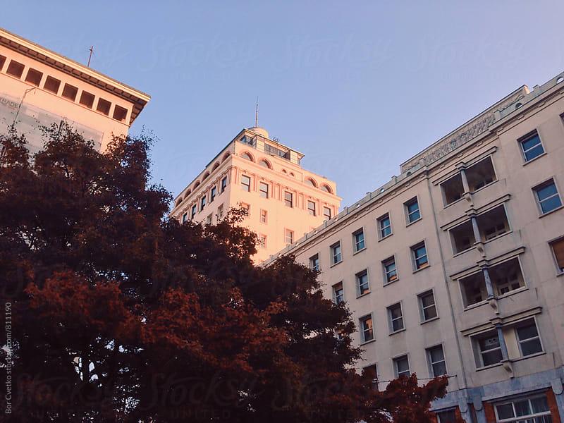Buldingsin sunset light in autumn by Bor Cvetko for Stocksy United