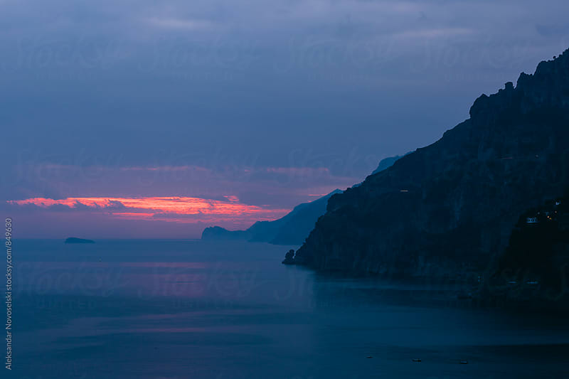 Sunset at the Amalfi coast, Positano, Italy by Aleksandar Novoselski for Stocksy United