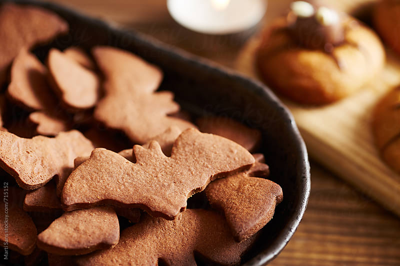 Bat shaped cookies by Martí Sans for Stocksy United