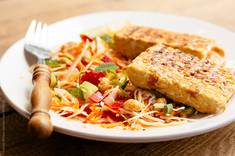 Grilled Tempeh on Vietnamese Salad by Harald Walker for Stocksy United