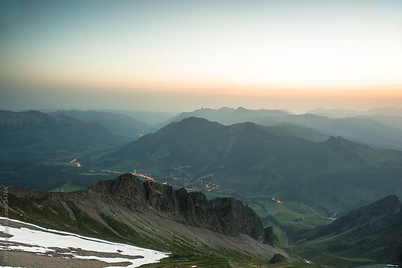 Sunrise mountain panorama from Brienzer Rothorn by Peter Wey for Stocksy United