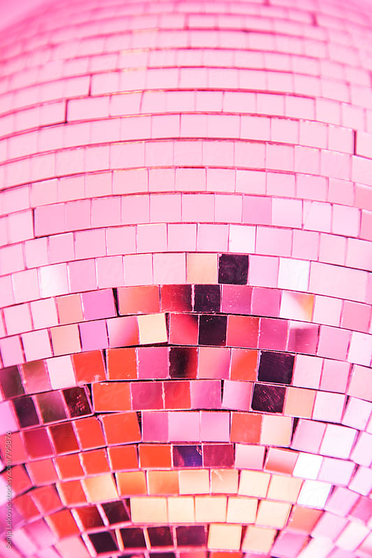 pink shiny disco ball party background by Sonja Lekovic for Stocksy United