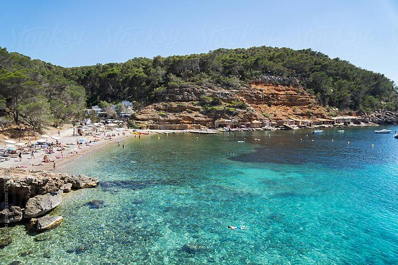 Man snorkeling in clear waters at mediterranean sea by ACALU Studio for Stocksy United