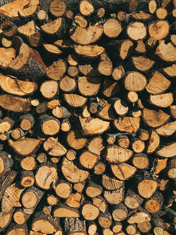Stacked firewood background. by BONNINSTUDIO for Stocksy United