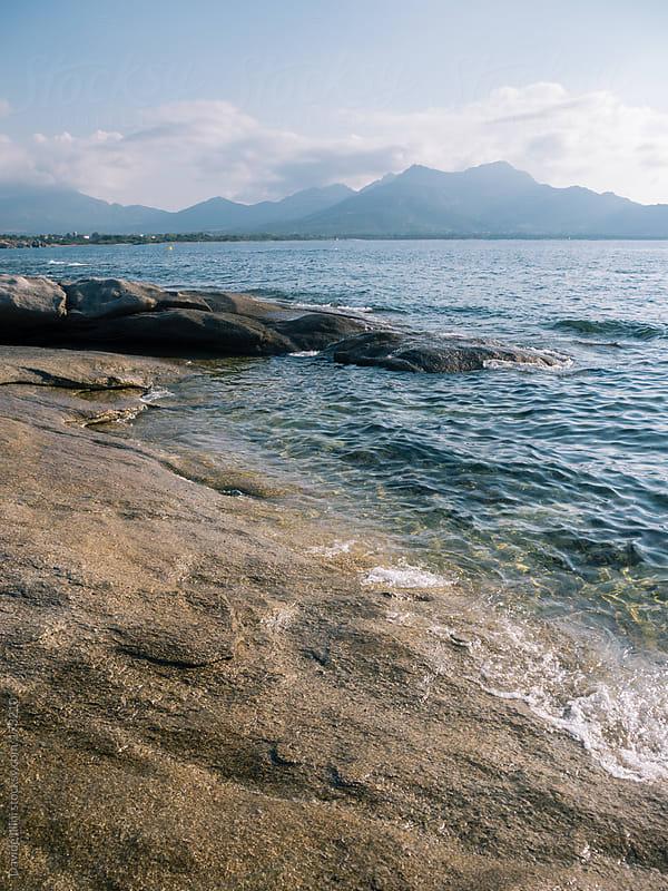 Corsica island mountain landscape and sea by Davide Illini for Stocksy United