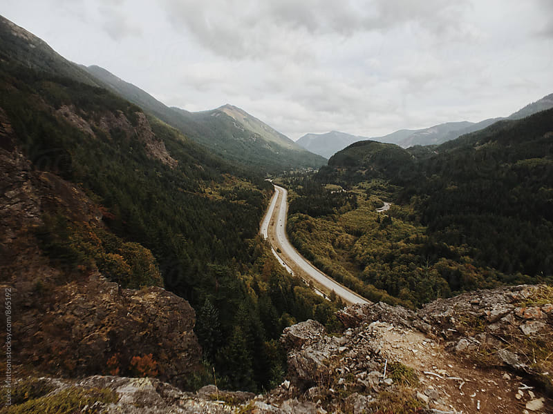 Winding Interstate Highway Through Cascade Mountain Pass by Luke Mattson for Stocksy United