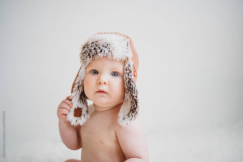 Baby Boy in Aviator Hat by Kim Swain for Stocksy United