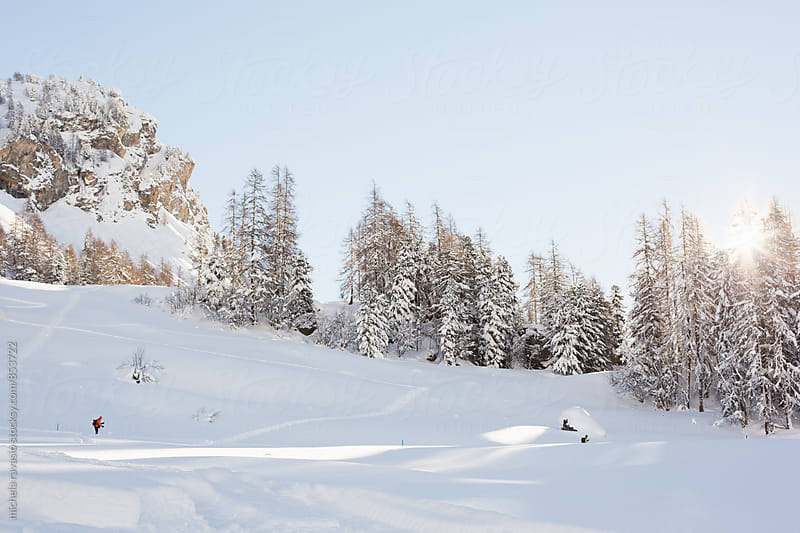 Winter landscape in Swiss Alps by michela ravasio for Stocksy United