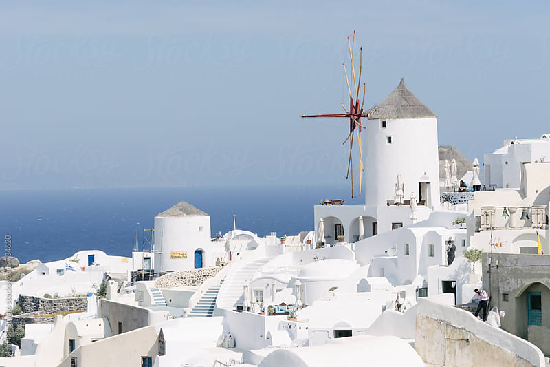 Windmill on the Greek island of Santorini by Maa Hoo for Stocksy United