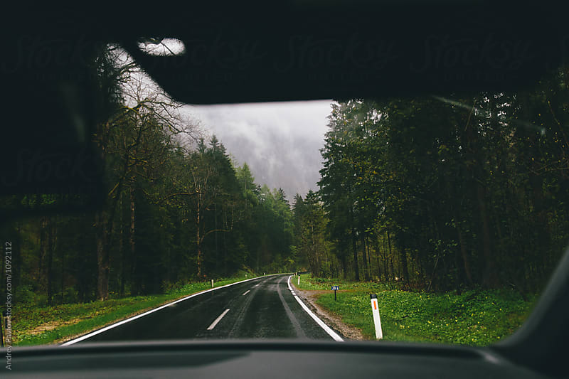 View on wet road in Austria from car by Andrey Pavlov for Stocksy United