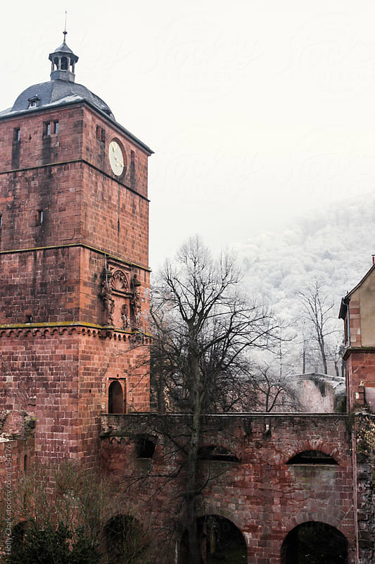 Medieval Castle tower in a German winter, Heidelberg, Baden-Wür by Holly Clark for Stocksy United
