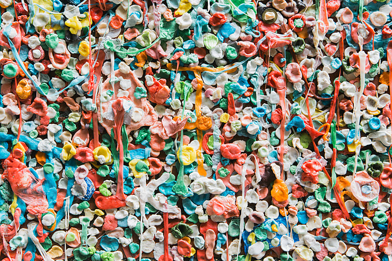 A wall of chewed gum on Seattle's Market Theater Gum Wall by Mihael Blikshteyn for Stocksy United
