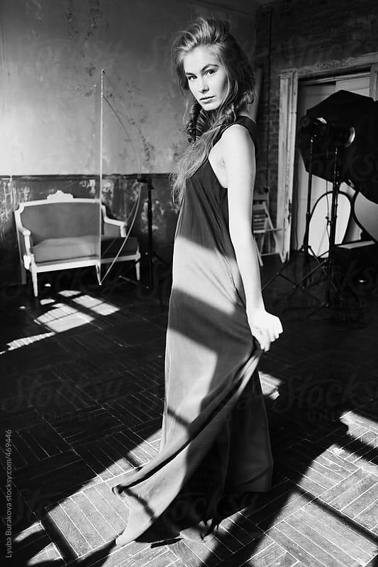 Black and white backstage of the fashion shooting by Lyuba Burakova for Stocksy United