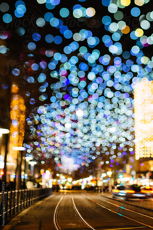Urban city lights bokeh by Peter Wey for Stocksy United