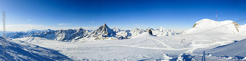 Panorama from Cobba di Rollin  Glacier with Mont Blanc, Matterho by Peter Wey for Stocksy United