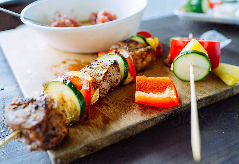 Beef and vegetable kebabs by J.R. PHOTOGRAPHY for Stocksy United