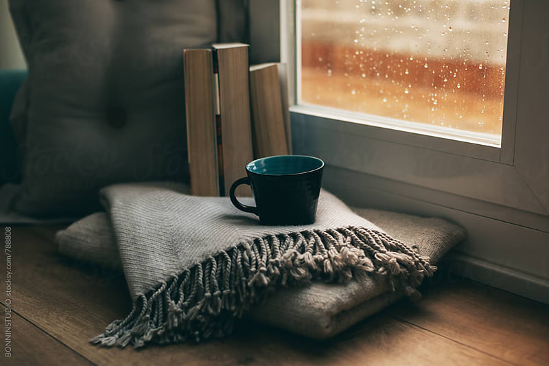 Coffee time in a cozy home on a rainy day. by BONNINSTUDIO for Stocksy United