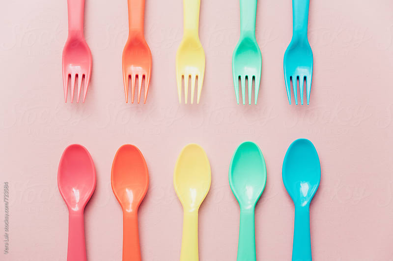 Plastic cutlery  by Vera Lair for Stocksy United