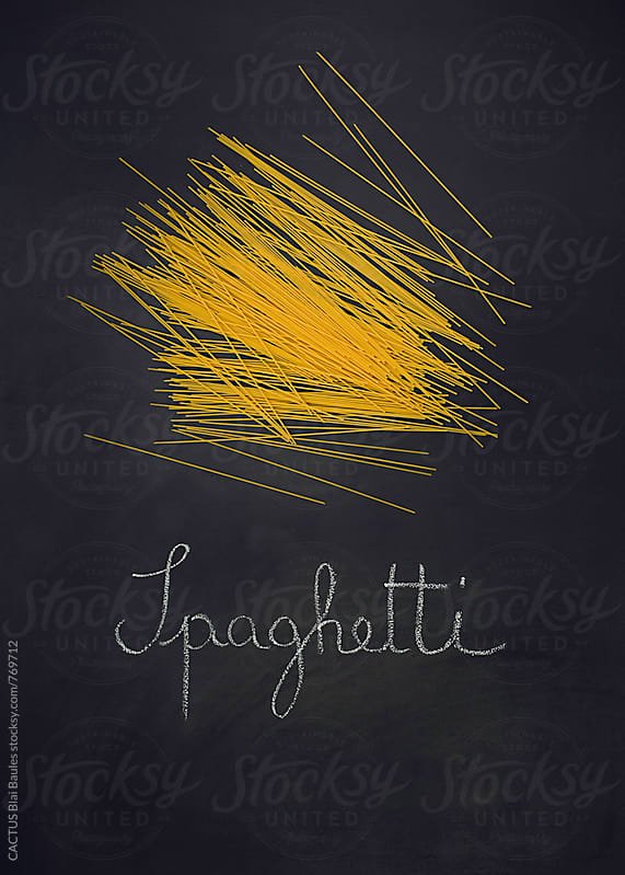 Italian spaghetti on a blackboard by CACTUS Blai Baules for Stocksy United