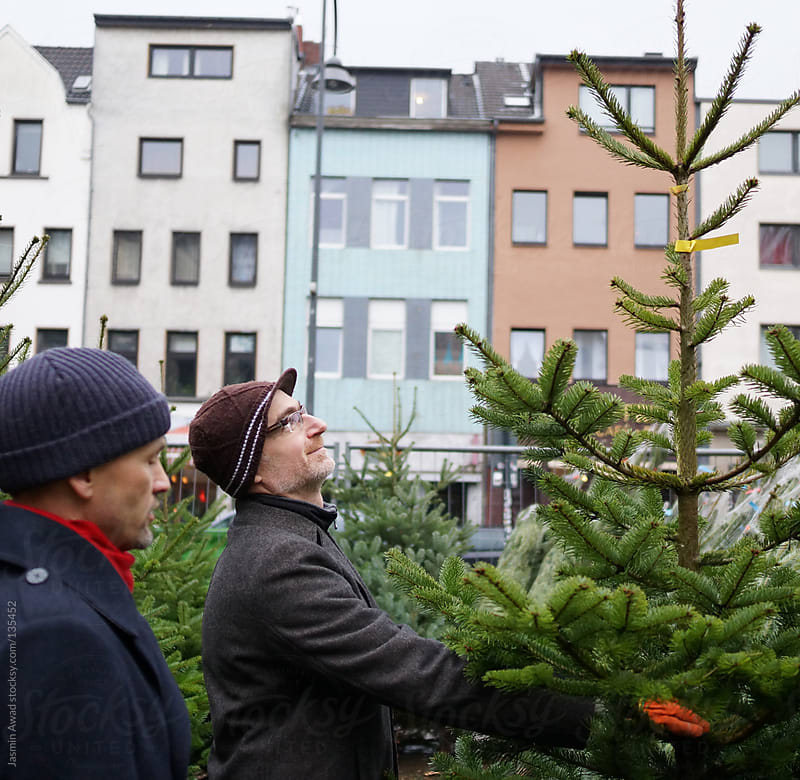 Two friends choosing a christmas tree by Jasmin Awad for Stocksy United