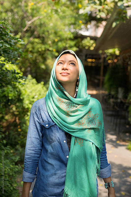 Portrait of a beautiful girl wearing hijab by Jovo Jovanovic for Stocksy United