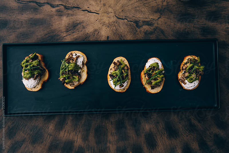 Mushroom Toast Appetizer by Jayme Burrows for Stocksy United