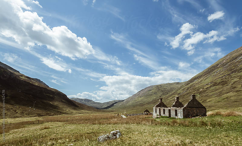 Old Ruin in the scottish highlands by Leander Nardin for Stocksy United