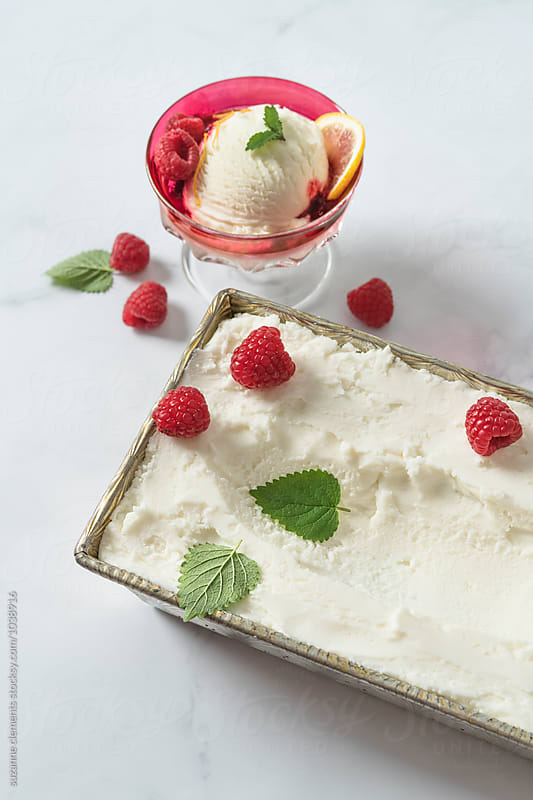 Vanilla Raspberry Ice Cream Sundae by suzanne clements for Stocksy United