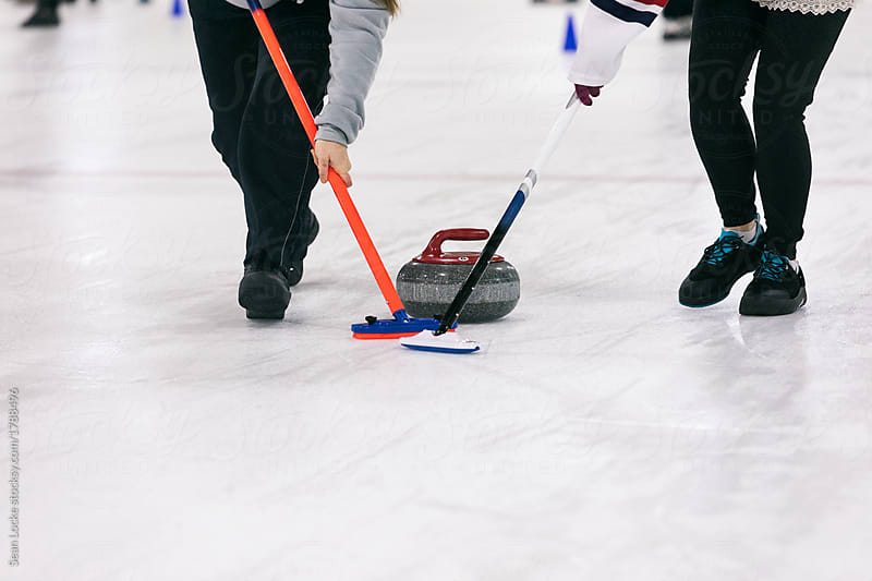 stock photo: curling sweeping