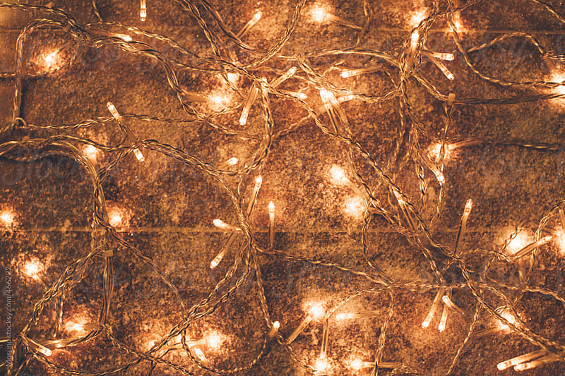 Christmas Lights on a Wooden Background by Mosuno for Stocksy United