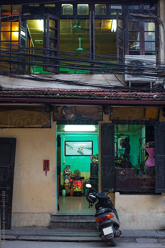 Old Street in Hanoi Vietnam at Night by Rowena Naylor for Stocksy United
