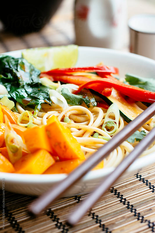 Ginger Stir-fry Wok Noodles with Winter Squash, Spinach, Paprika by Harald Walker for Stocksy United