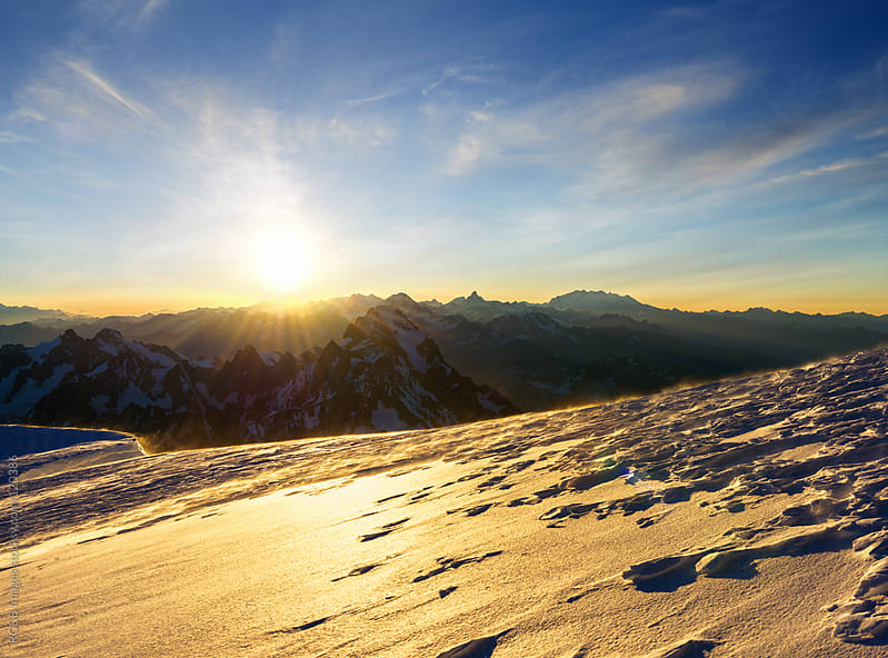 sunrise in the French Alps  by RG&B Images for Stocksy United