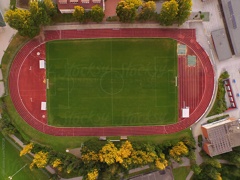 Aerial view on urban stadium by rolfo for Stocksy United