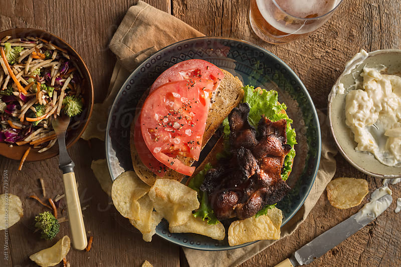 Rustic Bacon, Lettuce and Tomato Sandwich From Above by Jeff Wasserman for Stocksy United