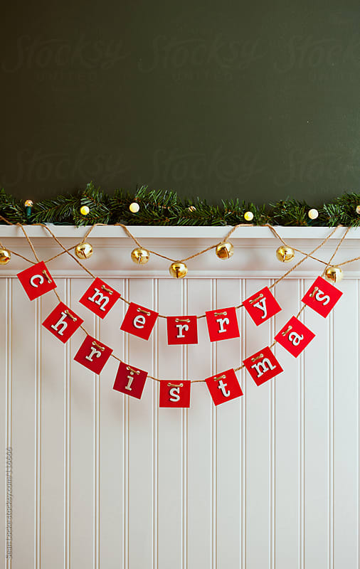 Holidays: Merry Christmas Sign With Santa Bells by Sean Locke for Stocksy United