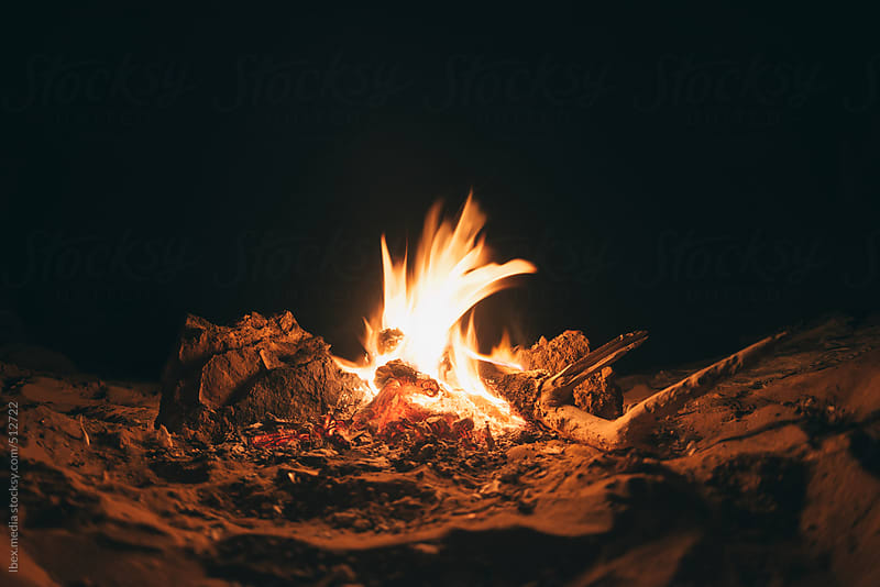 campfire in the desert by RG&B Images for Stocksy United